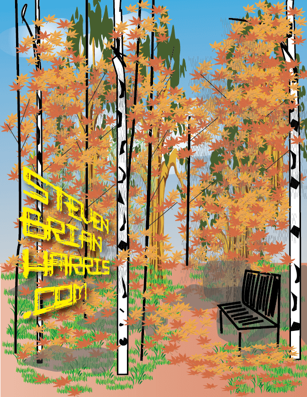 Branding for Steven Brian Harris .com Illustration by Steve Harris of Fall Leaves with text in perspective